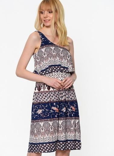 Tek Askılı Desenli Elbise-Only